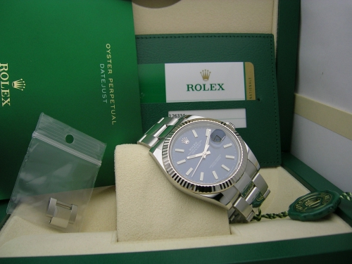 ROLEX DATEJUST 41 126334  BLUE DIAL OYSTER 2019
