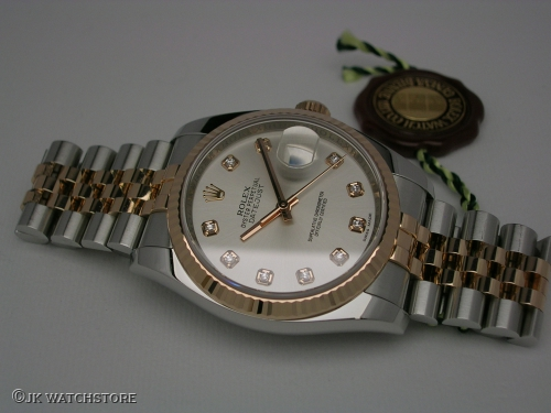 ROLEX DATEJUST 116231 2012 STEEL/EVERROSE SILVER - DIAMOND  DIAL