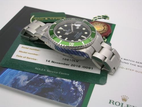 ROLEX SUBMARINER 16610LV 2008 ROLEX SERVICE